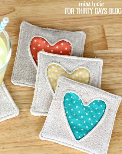 Try these simple heart fabric coasters to make a cute addition to any table top decor for your home.