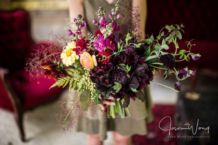 Bouquet, November Wedding, Al Ru Farm, burgundy, Tulips, Scabiosa, Sweet Peas