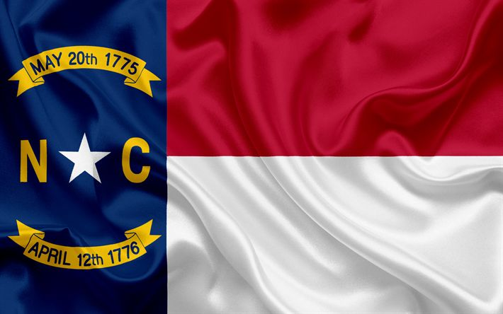 Download wallpapers North Carolina State Flag, flags of States, flag State of North Carolina, USA, state North Carolina, silk flag