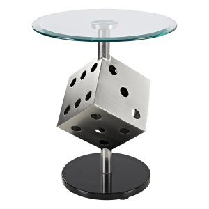 Powell Snake Eyes Metal and Glass Table - End Tables at Hayneedle