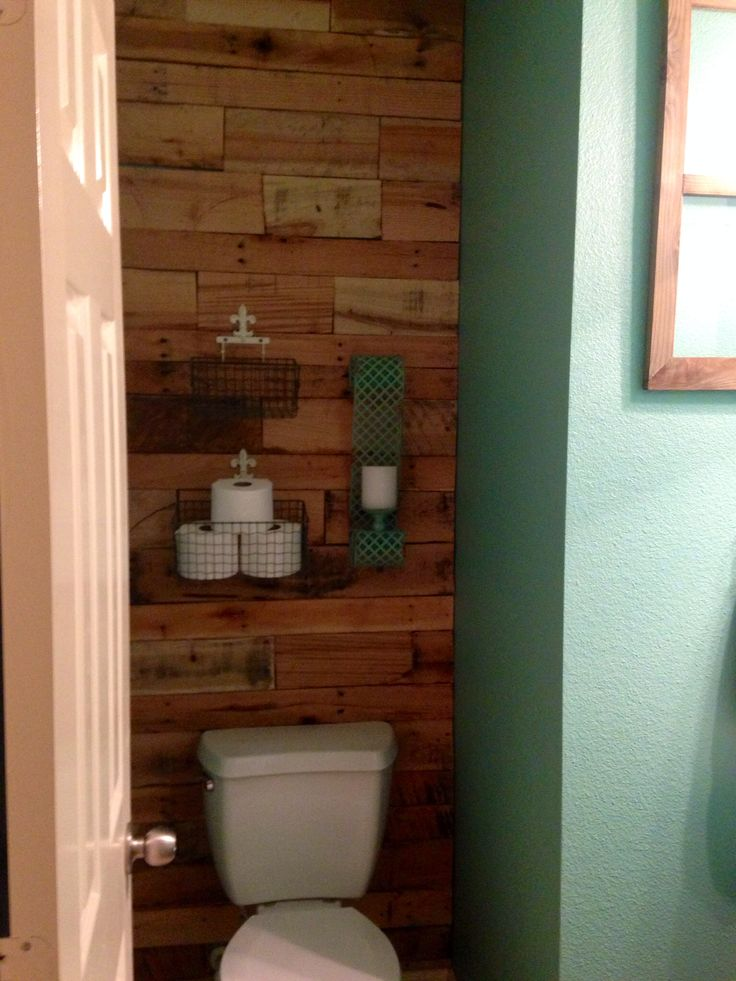 Pallet wall behind toilet.. Wall color.. Sherwin Williams Drizzle
