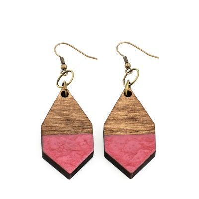 DIAMANTE earrings in hammered rosewood