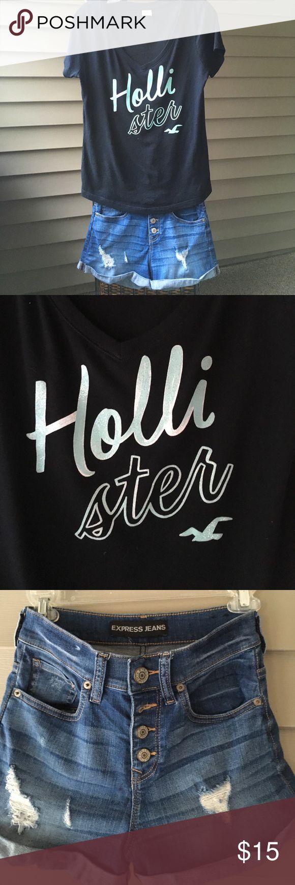 Hollister Tee & Express Jeans Button Short Shorts Hollister mint screenprint on black v Neck tee size small.                       Express Jeans size 00 Denim Short Shorts with button fly Hollister Tops Tees - Short Sleeve