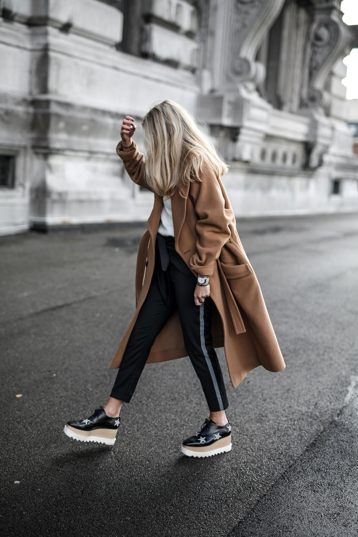 Winter to Spring Look: Camel coat, white tee and leather pants   Similar Style Available on SiiZU