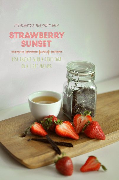 Strawberry Sunset Flavored Oolong Tea: A remind of a tropical sunset with mango, passionfruit and berry notes in perfect unison. Serve with a nice fruit tart or a tangy pavlova. by Kettle Town on Etsy, $12