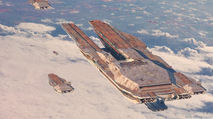 New spaceship art by Paul Chadeisson. Keywords: ship breaking yard final destination mothership escort air carrier facility large doc...