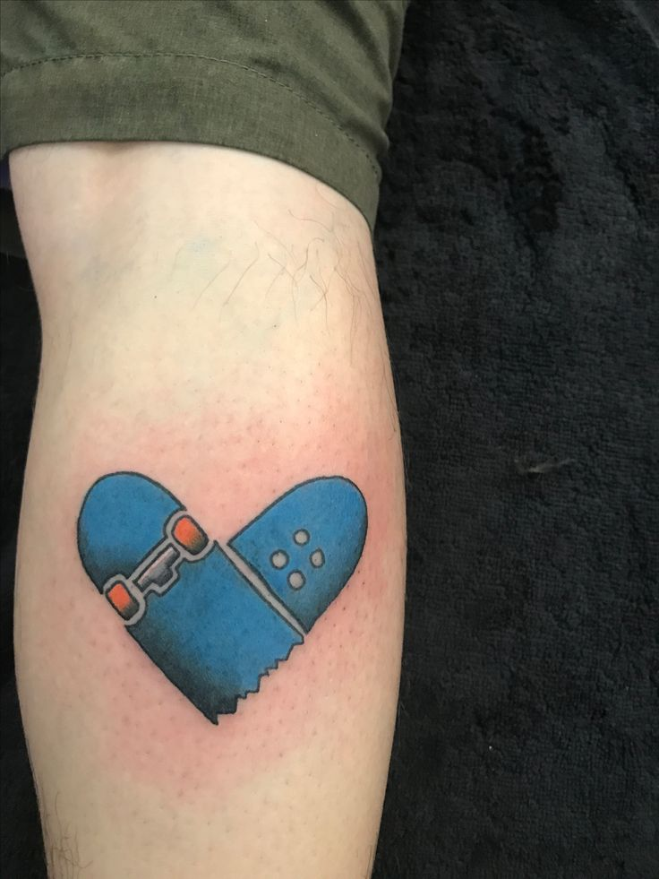 Broken Blue heart skateboard tattoo