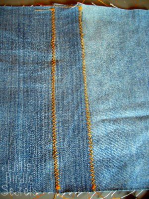 I love this method of stitching the seams for a denim quilt!