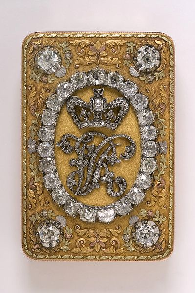 "Snuff box presented as a gift by Queen Victoria in 1837 - Upon her accession to the throne, Queen Victoria made many gifts to those who had served her mother and herself while they lived in Kensington Palace. An inscription on this magnificent snuffbox of gold, diamonds and enamel records that it was given to Colonel Harcourt in 1837, ""in recognition of services rendered to Queen Victoria while she resided at Kensington Palace."""