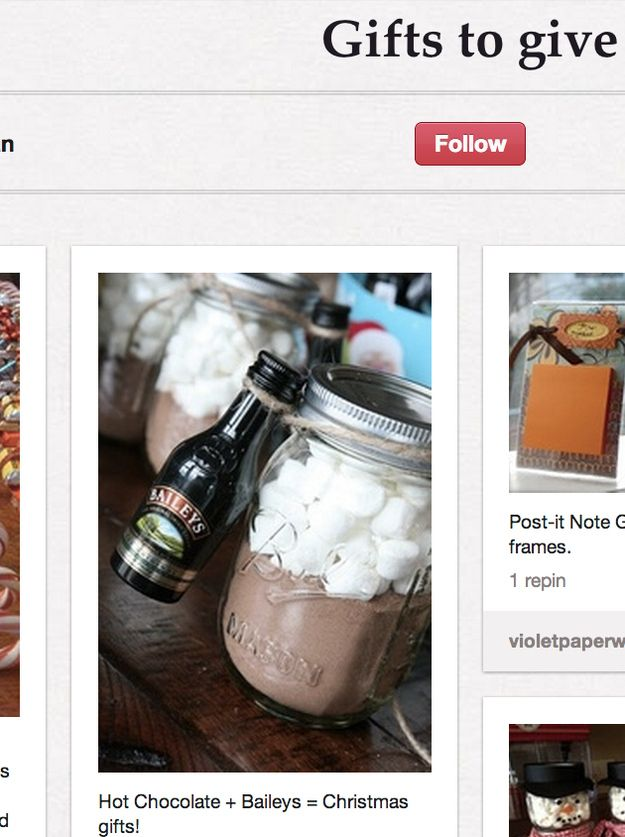 Or hot chocolate in a jar. | The Drastic Differences Between What Pinterest Users Want And Want To Give For Christmas