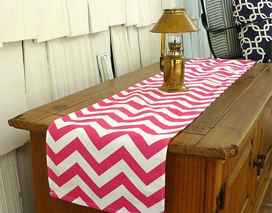 10 x 72 Chevron Candy Pink Table Runner by ThePreppyOwlBoutique, $9.99