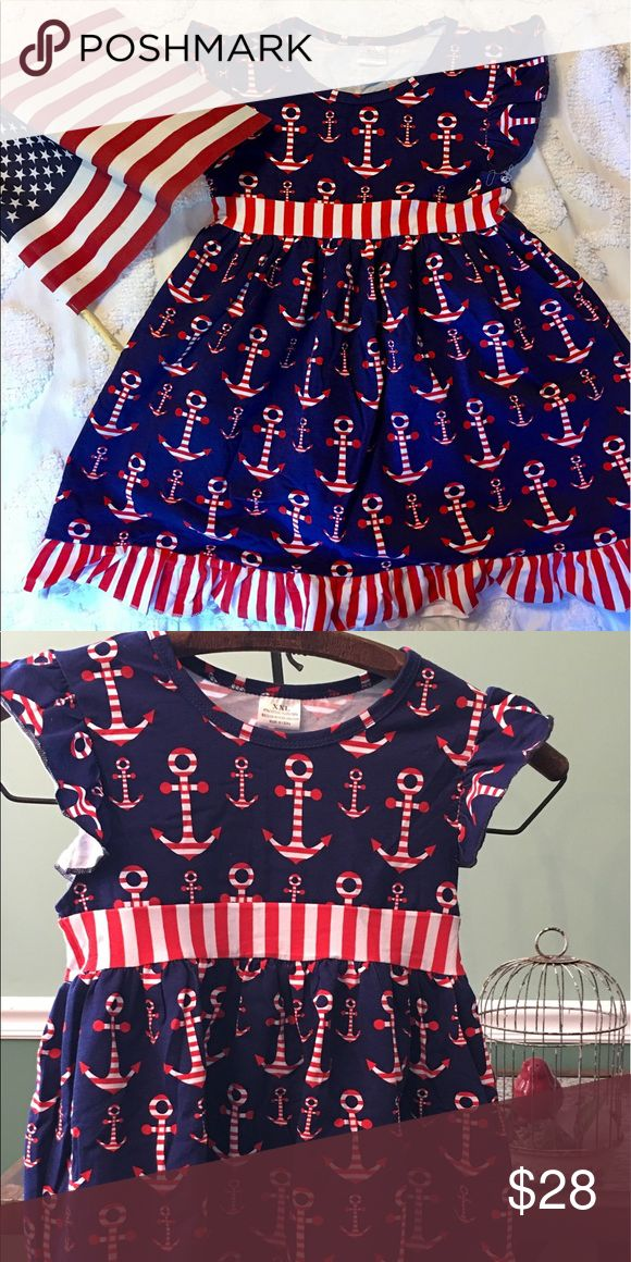 Girls Red, White, and Blue Ruffled Dress This is an adorable red, white and blue anchor dress for your little girl!!  It's the perfect dress for picnics, parades, parties or just to wear around town. The dress is made of 97% cotton and 3% spandex. Sizes range from:  XS (2t), S (3t), M (4), L (5), XL (6) and XXL (7). Dresses Casual