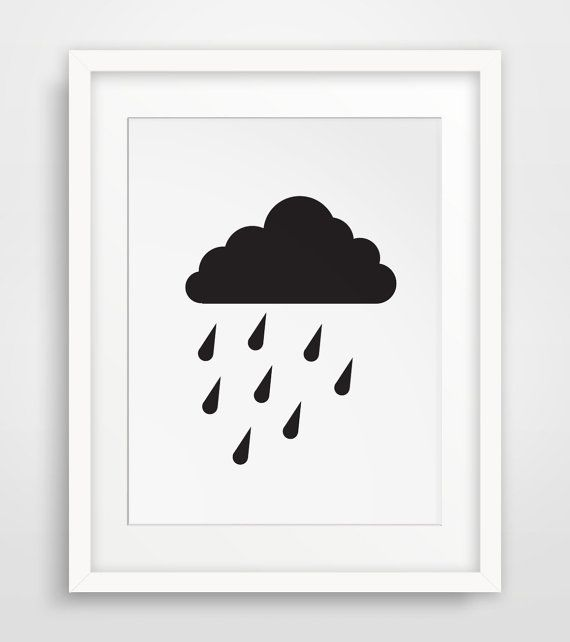 INSTANT DOWNLOAD: Black and white cloud and rain wall print    ===      Print out this modern wall artwork from your home computer or local