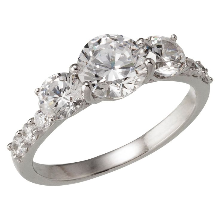 Silver Plated Fancy Cut Cubic Zirconia Engagement Ring - Size 6, Women's
