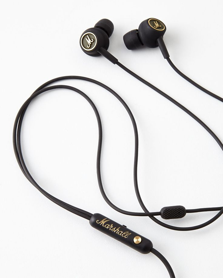 Marshall Mode EQ Earphones, Black/Brass - Neiman Marcus