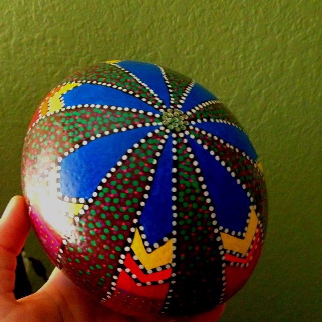 Hand-Painted ostrich egg...or handpainted rock!!  Very cool!