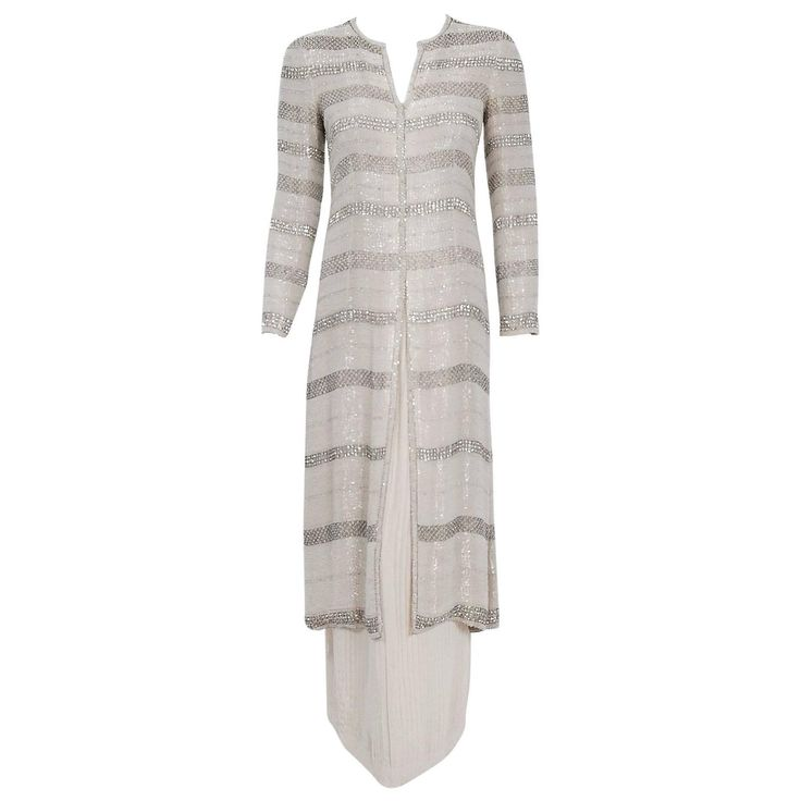 1976 Chanel Haute-Couture Rare Beaded Lesage Silk Jacket & Pleated Dress Skirt