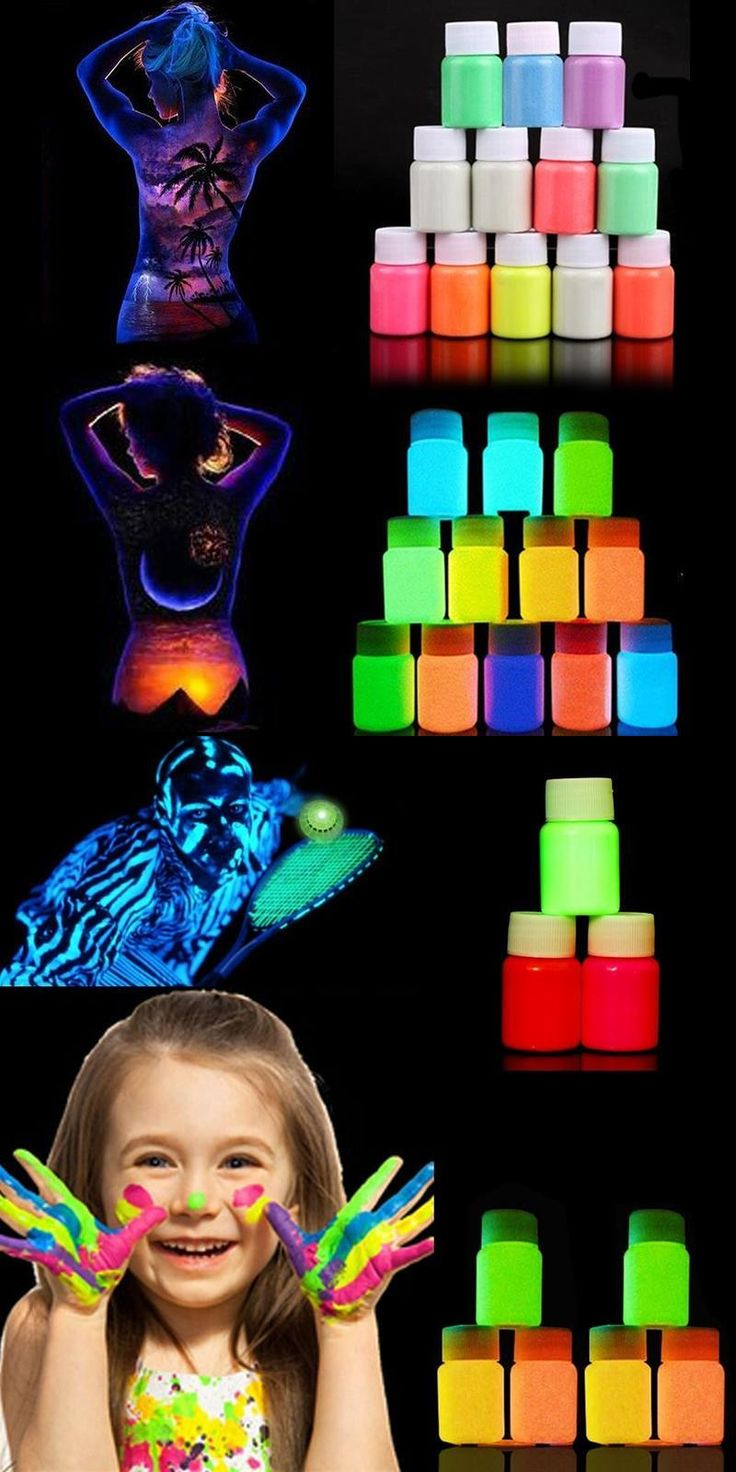 [Visit to Buy] 12 Colors Makeup Acrylic Glowing Face Body Luminous Painting Stage Glow in Dark Paint #Advertisement