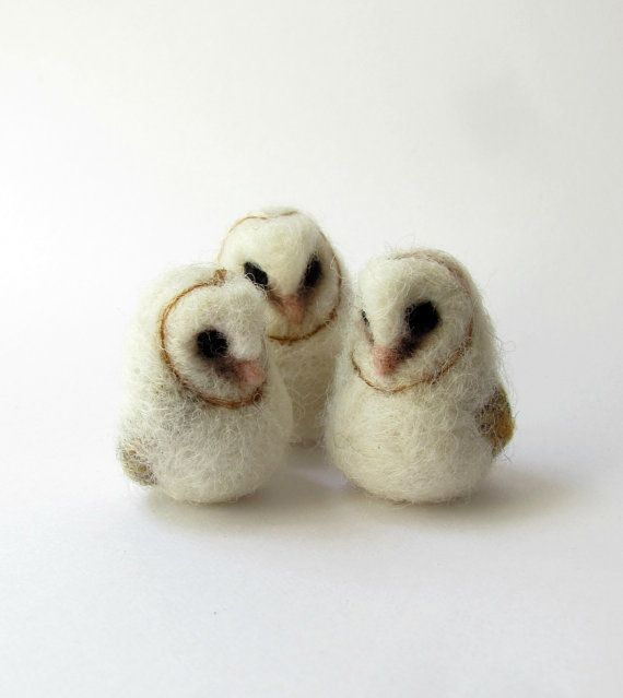 Small needle felted baby barn owl. The listing is for one owl. It is made from wool and stands approx. 3,5 - 4 cm tall Those pictured were