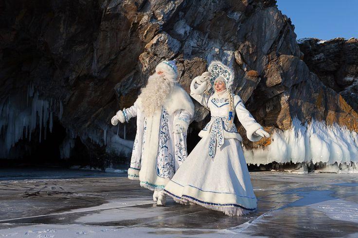 Bajkalskij Ded Moroz I Snegurochka Baikal Father Frost And Snow Maiden Fantasy Garb Natal Fantasy
