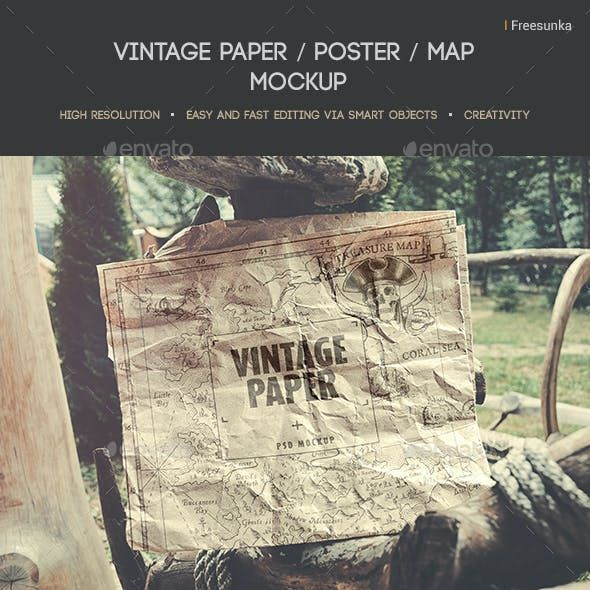 Vintage Paper Poster Map Mockup Di 2021