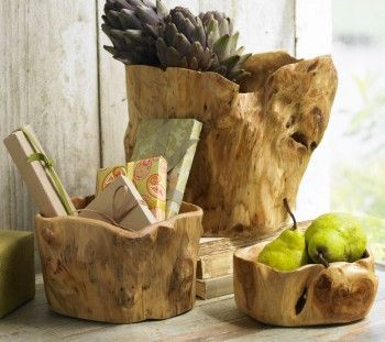 We have one of these with our keys, etc. on the end of our bar...so pretty and natural. #wood #bowls