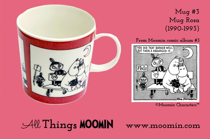 Moomin mug number 2 Produced: 1990-1996 Illustrated by Tove Slotte and manufactured by Arabia. The original comic strip can be...
