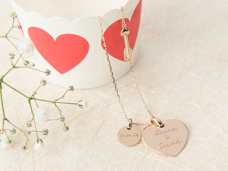 Personalised Valentine Necklace. 18K Gold plated or 925 Sterling silver. #necklace #heart #bespoke #personalised