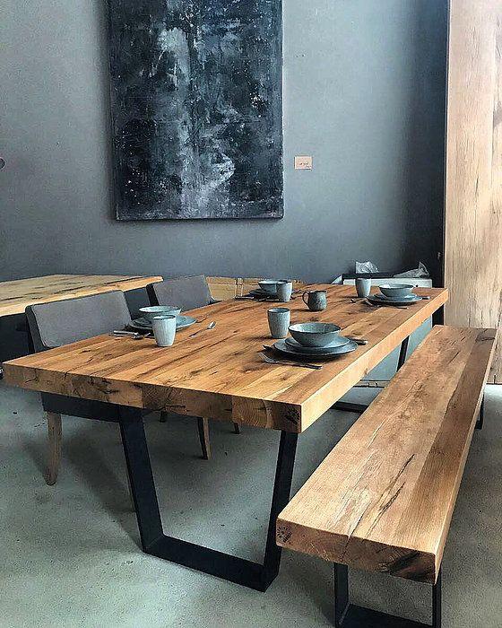 Eichentisch Massiv Altholz Dicke Tiscplatte Haus Table Dining