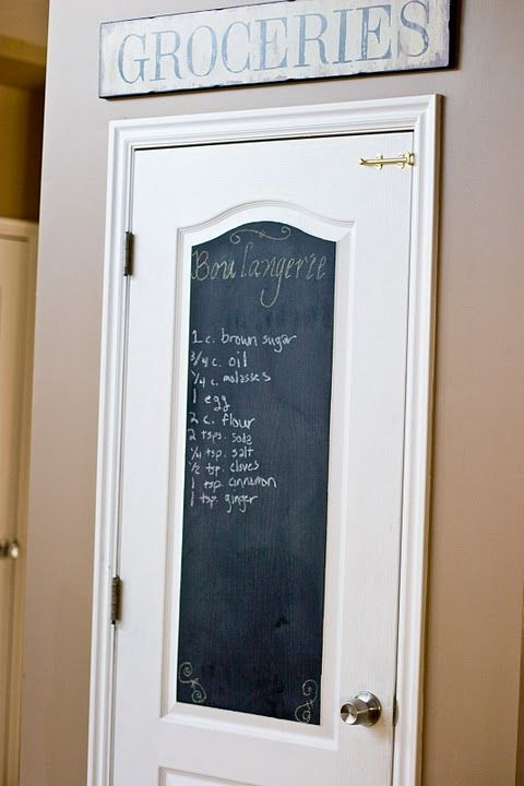 The center panel of a door is sprayed with chalkboard paint to make a message board.