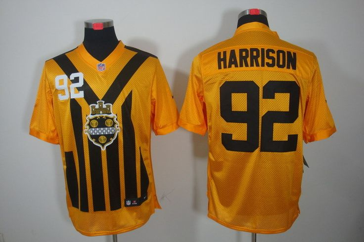Men's Pittsburgh Steelers #92 James Harrison 1933 Yellow Throwback Jersey