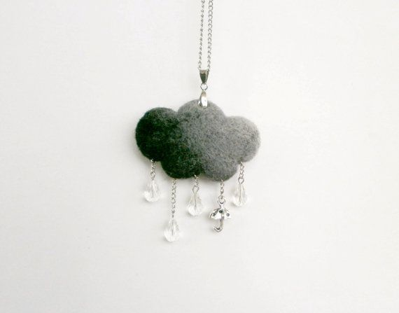 Needle Felted Cloud Necklace Rain Cloud Grey by CreativeAtelierBg, $21.00