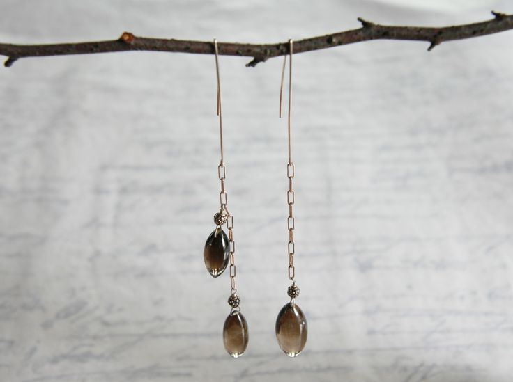 Long Smokey Quartz Drops, $125.00 by Handmade Jewellery in Vancouver: Anne Carson Design