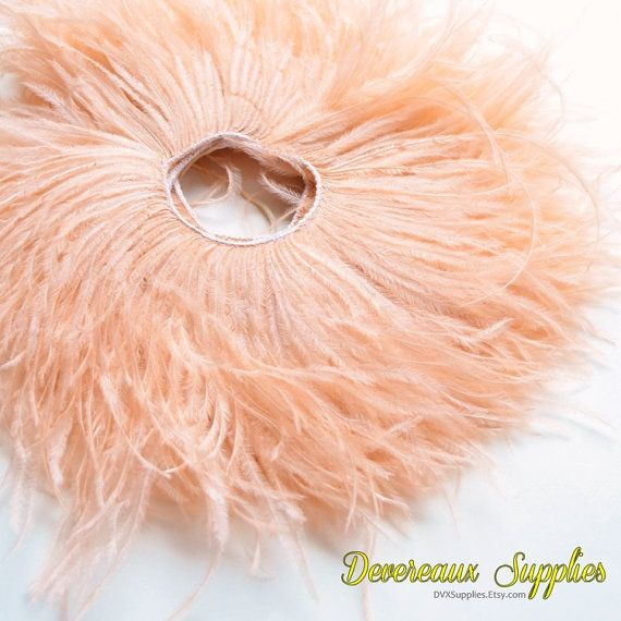 Ostrich Fringe  Blush Peach Coral by DevereauxSupplies on Etsy, $4.95