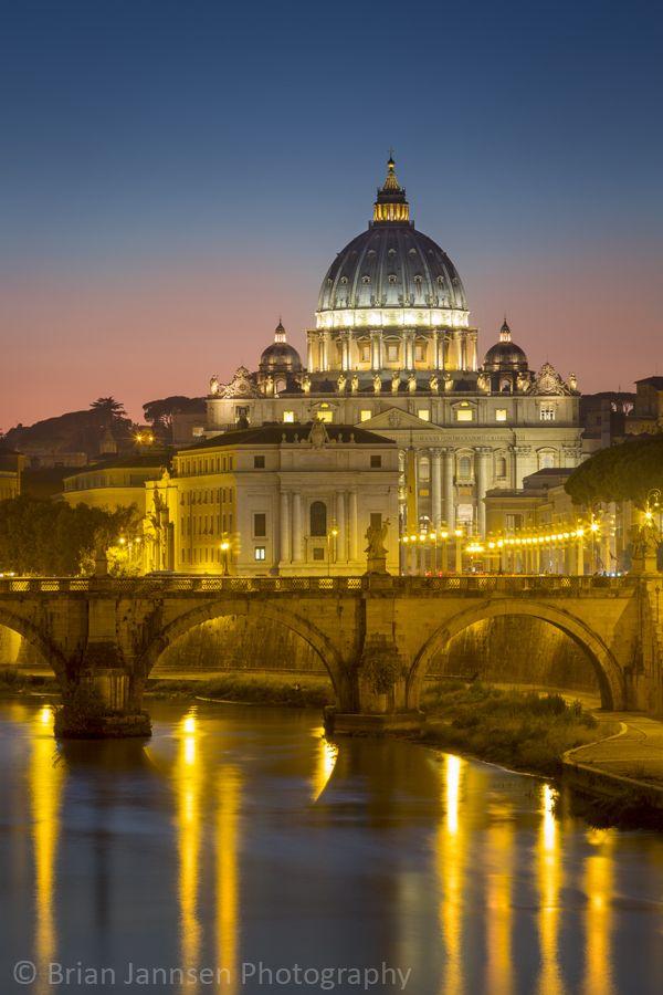 Twilight over River Tibor and the dome of San Pietro, Vatican, Rome, Lazio, Italy. © Brian Jannsen Photography