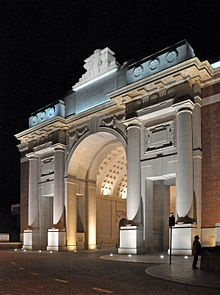 Chosen for the men who passed through on their way to the battlefields. Commemorates Commonwealth casualties who died in the Salient prior to 16.8.1917. YPRES (MENIN GATE) MEMORIAL bears the names of more than 54,000 officers & men whose graves are not known. Lance-Cpl. Frederick Fisher VC, Co. Sjt-Maj. Frederick W. Hall VC, Sec-Lieut. Denis G.W. Hewitt VC, Lieut. Hugh McD. McKenzie VC, Capt. Jean F. Vallentin VC, Pte. Edward Warner VC & Sec-Lieut. Sidney C. Woodroffe VC are commemorated…