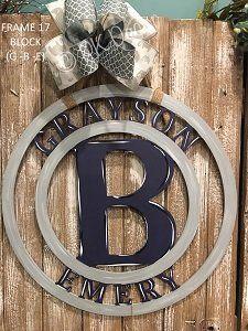 Baby Boy Hospital Door Hanger - Baby Boy Monogram Sign - Initial Baby Door Hanger - Birth Announcement Sign - Mono-Frame 17-Baby