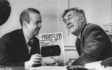 Ian Hislop with the magazine's former editor, Richard Ingrams, in 1990.