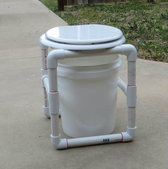 PVC Camp Potty That Disassembles For Storing Homesteading  - The Homestead Survival .Com