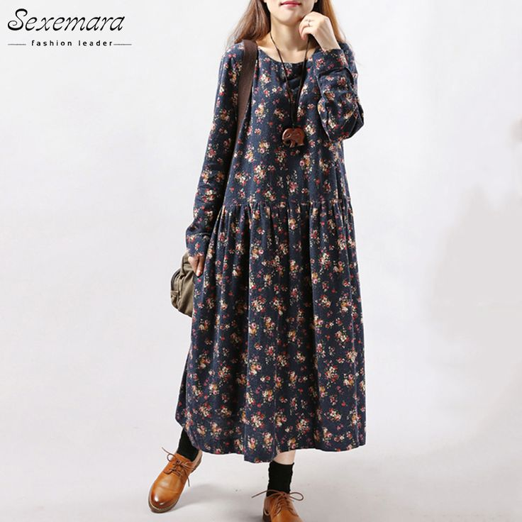 New Style Autumn Winter Women Dresses Vintage Print Casual Long Sleeve Cotton Linen Maxi Dress Swing Floral Big Size Dress