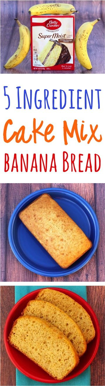 Cake Mix Banana Bread Recipe! Just 5 Ingredients and ridiculously delicious!  The perfect solution for your banana bread cravings!