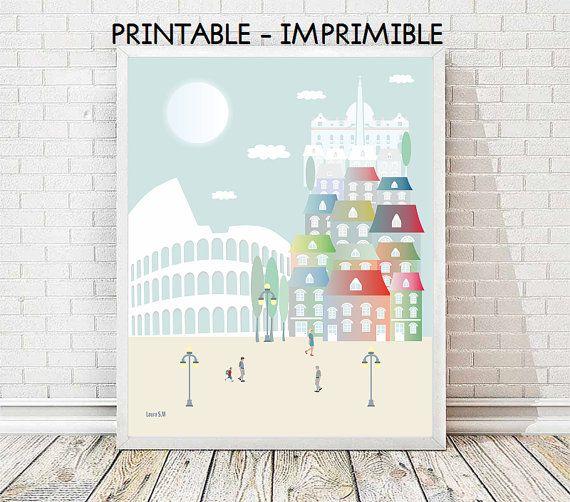 Roma, ilustraciones, laminas decorativas, poster Roma, lamina Roma,  imprimibles, ciudades, viajes, casas, decoracion casa, arte, cuadros
