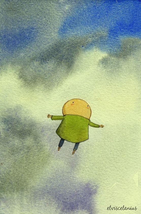 Hela aquí esta tarde, que miraba las nubes torneándose entre tenues colores grisáceos, cuando pasó volando mi querido Eu de lo más feliz. Con y por el aire limpio. (By Elviscelanius)