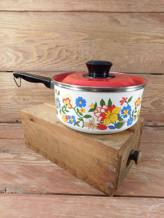 40% Off Sale - Retro 1970's Flower Enamel Sauce Pan, Red and Yellow Flowers, Enamel Cookware