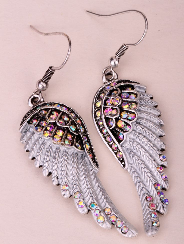 FOR ANGEL LOVERS... and for anyone wanting their own sparkling set of wings! Beautiful Feather-shaped Angel Wings Dangle Earrings with Intricate Crystal Pave Accents Choice of various color Crystals i
