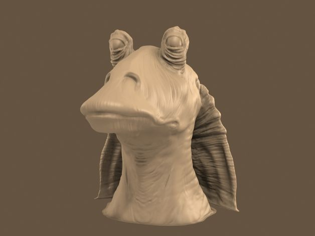 A 3d model of Jar Jar Binks I created in sculptris. The model was repaired in Meshmixer, and should print ok.
