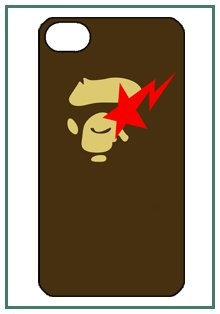 Bathing Ape Bape Monkey Cute Fun Funny Lovely Fashion Style Logo iPhone 4 iPhone4 Black Designer Hard Case Cover Protector Bumper