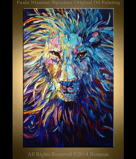 """Lion Painting Abstract Art 36"""" x 24"""" Animal original oil on canvas palette knife heavy textured technique ready to hang"""