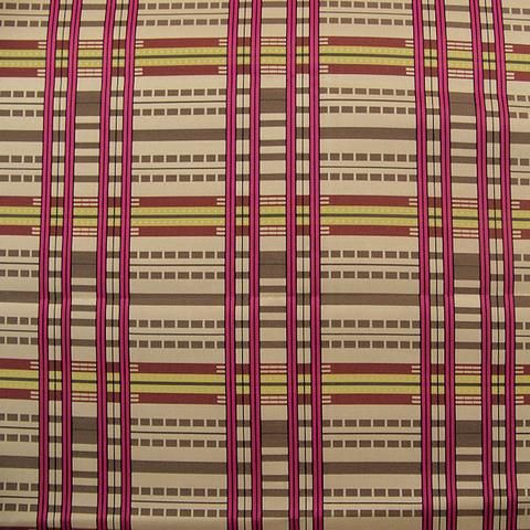 ON SALE $10/YD. Upholstery Fabric Large Grid Stripe Aerial View Magenta Toto Fabrics