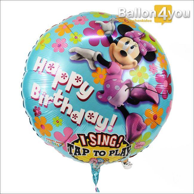 Singender Ballon Minnie Maus - Alles Gute zum Geburtstag     Minnie Maus höchstpersönlich gratuliert dem Geburtstagkind und hat sich etwas Besonders einfallen lassen. Ein leichter Klapps auf den Ballon genügt und Minnie Maus singt ein Happy Birthday-Ständchen a cappella. Der absolute Hit zu jedem Geburtstag!